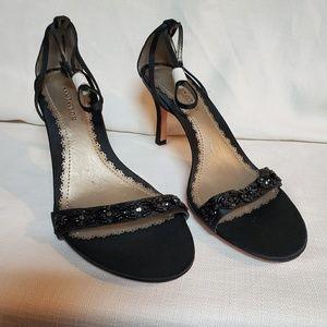 Ann Taylor Black Satin Beaded Shoe 6 #1334